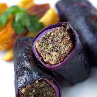 Spicy Quinoa Stuffed Red Cabbage Rolls