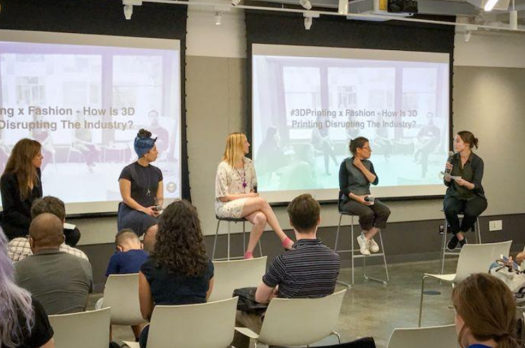 Lizz (second from left) participating in a panel discussion hosted by Women In 3D Printing as part of their #3D Talk Event Series discussing 3D Printing & Fashion.