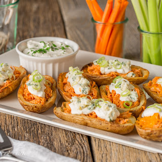 Buffalo Chicken Potato Skins with Blue Cheese Dip