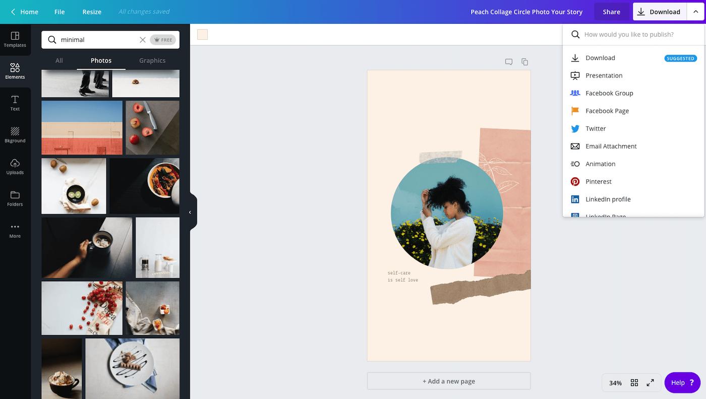Screenshot of Canva content creation platform.