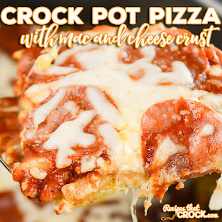 Crock Pot Pizza with Mac and Cheese Crust.