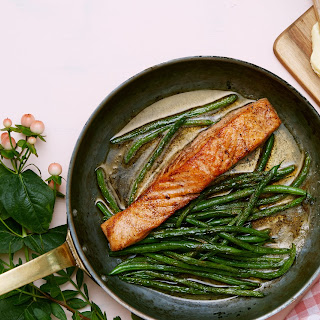 Keto Fried Salmon With Green Beans.