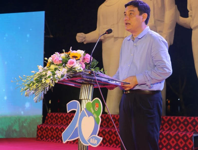 Đồng chí Nguyễn Đắc Vinh, Bí thư Tỉnh ủy phát biểu tại buổi lễ