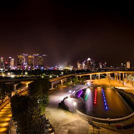 Night scenery from Marina Barrage, Singapore by CK Chong - City,  Street & Park  Night