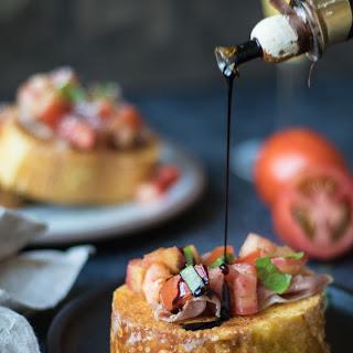 Bruschetta French Toast with Parmesan Crust.