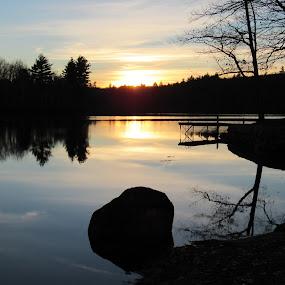 Sunset Over Bunganut Lake by Lynne Miller - Landscapes Sunsets & Sunrises ( maine, bunganut lake, sunset, lyman maine, lynnemiller )