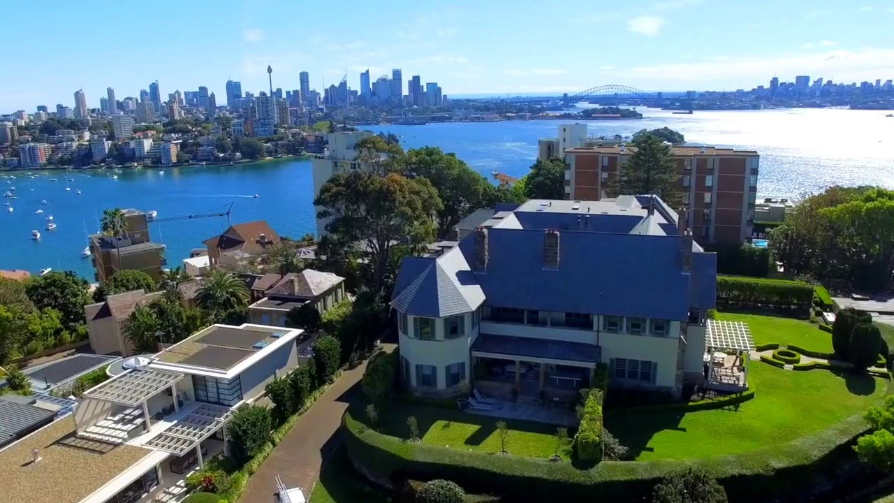 Aerial view of Kilmory, 6 Wentworth Street, Point Piper NSW 2027 (looking North-West over Sydney Harbour)