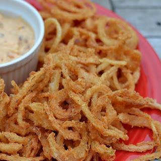 Onion Straws with Chipotle Pepper Aioli.