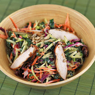Broccoli Slaw and Kale Salad with Chicken.