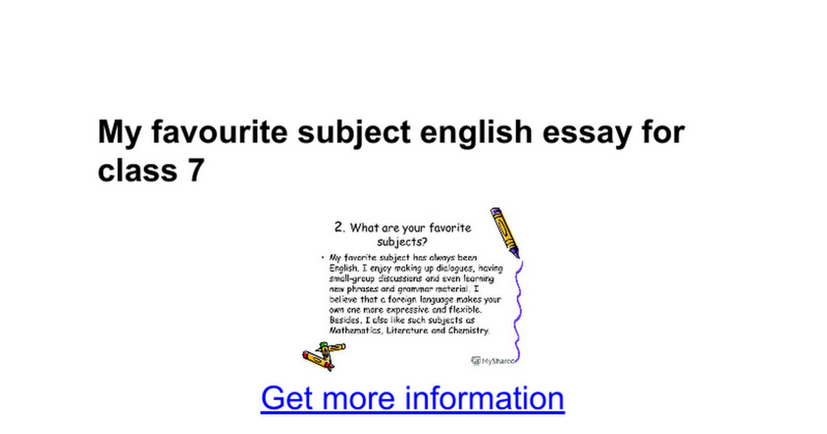 Essay on My Favourite Subject | English | Maths | Science | History