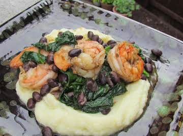Blackened Shrimp & Beans over Whipped Cauliflower