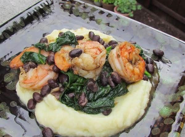 Blackened Shrimp And Beans Over Whipped Cauliflower
