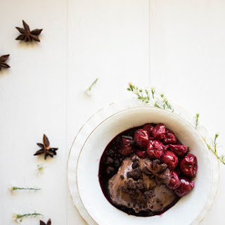 Dark Chocolate Cremeux Crumble with Red Wine Cherries