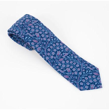 ETON blåblommig med djur ull slips