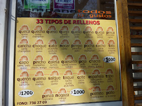 Photo: We found a place that has 33 types of empanada filling! Yum! The 2 on the bottom right are dessert empanadas