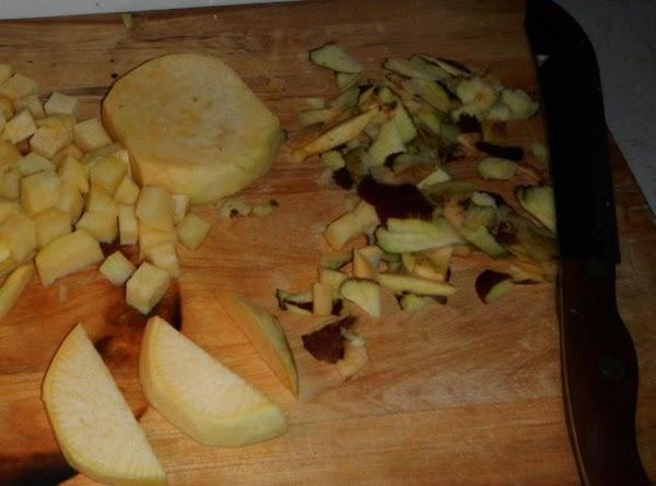 wash peel and chop rutabaga. Set in water with potatoes.