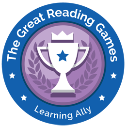 Great Reading Games logo: Blue circle around a purple disc, with a traditional loving cup and laurels in its center.  A blue star is on the main body of the cup, and a crown hovers over it.