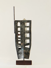 Photo: UP FROM THE ASHES - 20H X 5W X 5D Forged and Polished Mild Steel, Stained Ipe- Rear View
