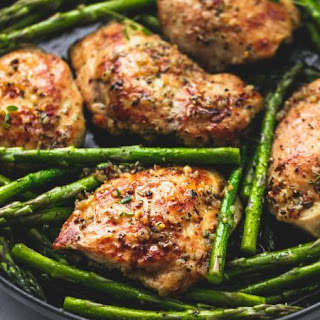 One Pan Garlic Herb Chicken and Asparagus.