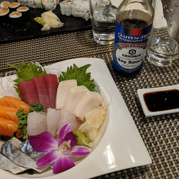 Sashimi dinner with gluten free soy sauce