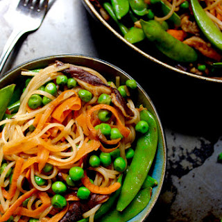 Rice Noodle Green Pea Stir Fry