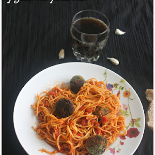 Spaghetti With Spinach Balls.