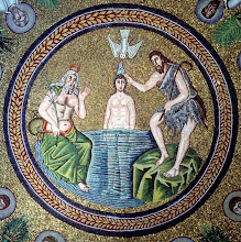 Photo: Title: Baptism of Jesus Artist: Unknown Medium: Mosaic Size: 210 cm diameter Date: c. 500 AD Location: Ravenna, Italy http://iconsandimagery.blogspot.com/2009/07/baptism-of-jesus.html
