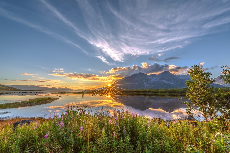 Sunset perfect by Benny Høynes - Landscapes Sunsets & Sunrises ( clouds, water, nature, colors, sunset, norway,  )