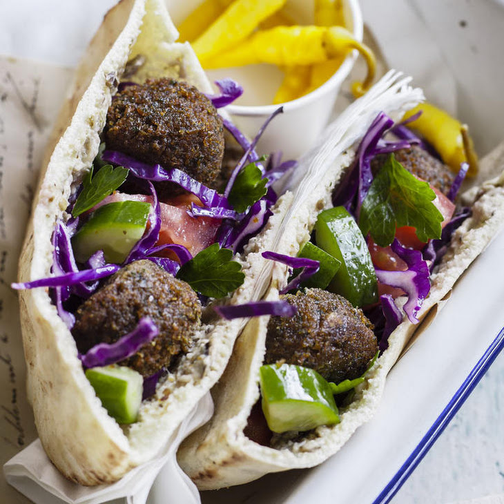 Falafel Sandwiches with Cabbage Salad