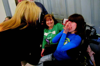 Photo: Rep. Longhurst stops to say hello to Brigitte and Terri Hancharick prior to the ADA 25 proclamation being read in the House on 3.25.15
