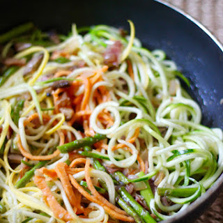 Zucchini, Squash, and Sweet Potato Carbonara