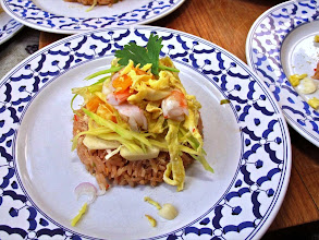 Photo: a plate or roasted shrimp paste rice ready to be eaten