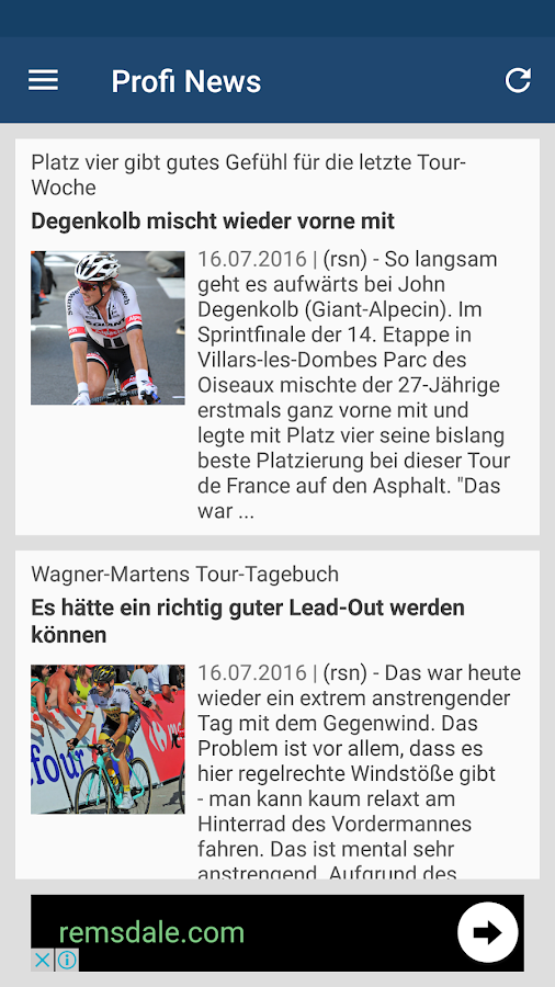 Cycling News Reader- screenshot