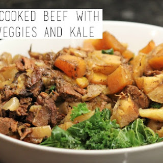Slow-Cooked Beef with Root Veggies and Kale