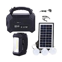 Kit solar GD8161 cu lanterna LED, radio FM, 3 becuri, panou si USB