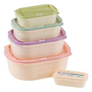 Set 5 caserole plastic cu capac, 10 piese