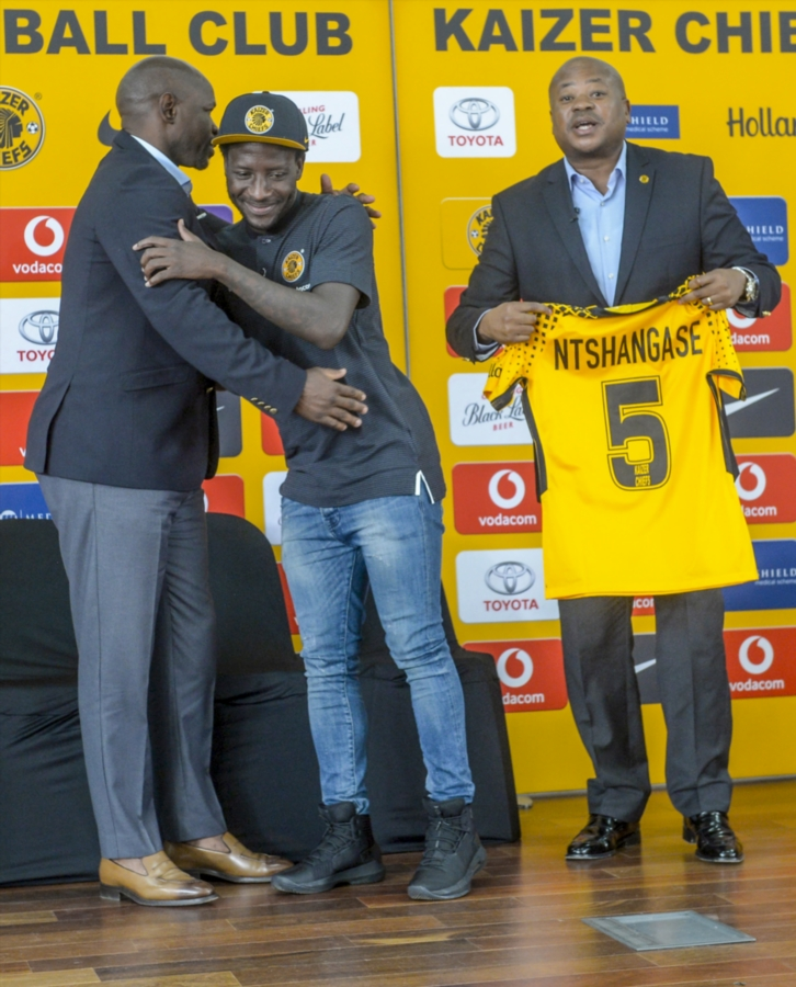 Siphelele Ntshangase of Kaizer Chiefs unveiled during the club's media briefing at Chiefs Village on January 10, 2018 in Johannesburg, South Africa.