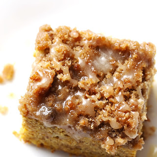 Cinnamon Streusel Pumpkin Coffee Cake with Maple Glaze
