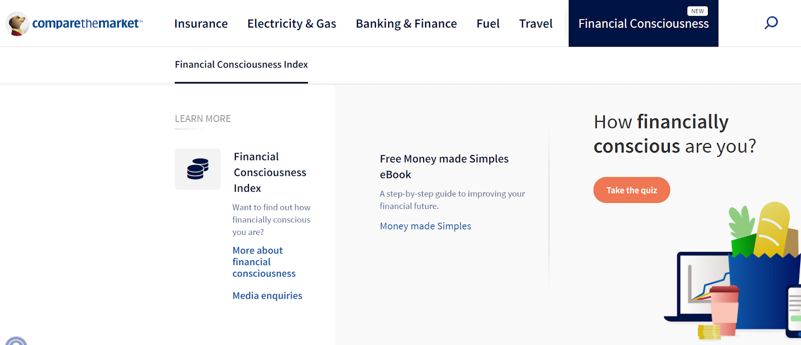 header with how financially conscious are you? and a button to the quiz