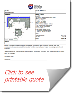 Print or email a countertop quote directly from CounterGo