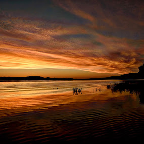 A Fire In The Mornong by Kent Moody - Landscapes Cloud Formations ( water, clouds, reflection, sky, sunrise,  )