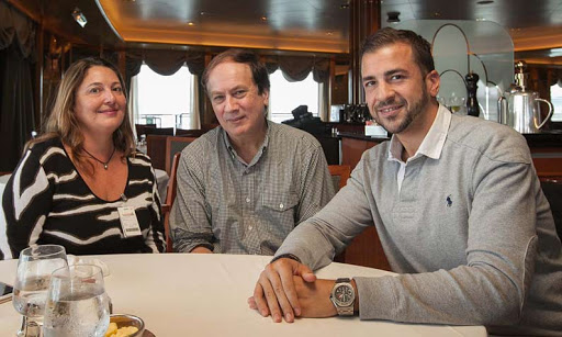 Cruiseable team members Lisa Theodoratus, JD Lasica and Giacomo Balli aboard Cunard's Queen Elizabeth.