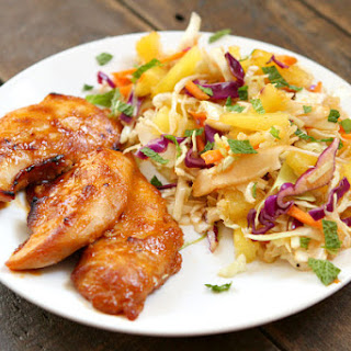 Thai Chicken Tenders with Broiled Pineapple Slaw