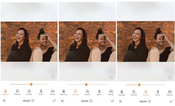 Foto de duas amigas sentadas sendo editada pelo AirBrush com a ferramenta Fundo