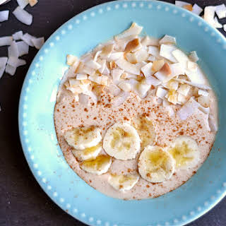 Peanut Butter and Banana Smoothie Bowl with Toasted Coconut.