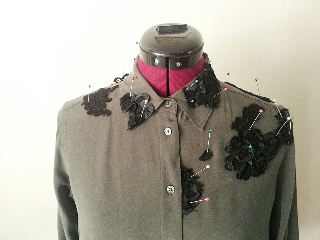 In-Progress: DIY Lace Appliqués on Blouse - DIY Fashion Garments | fafafoom.com