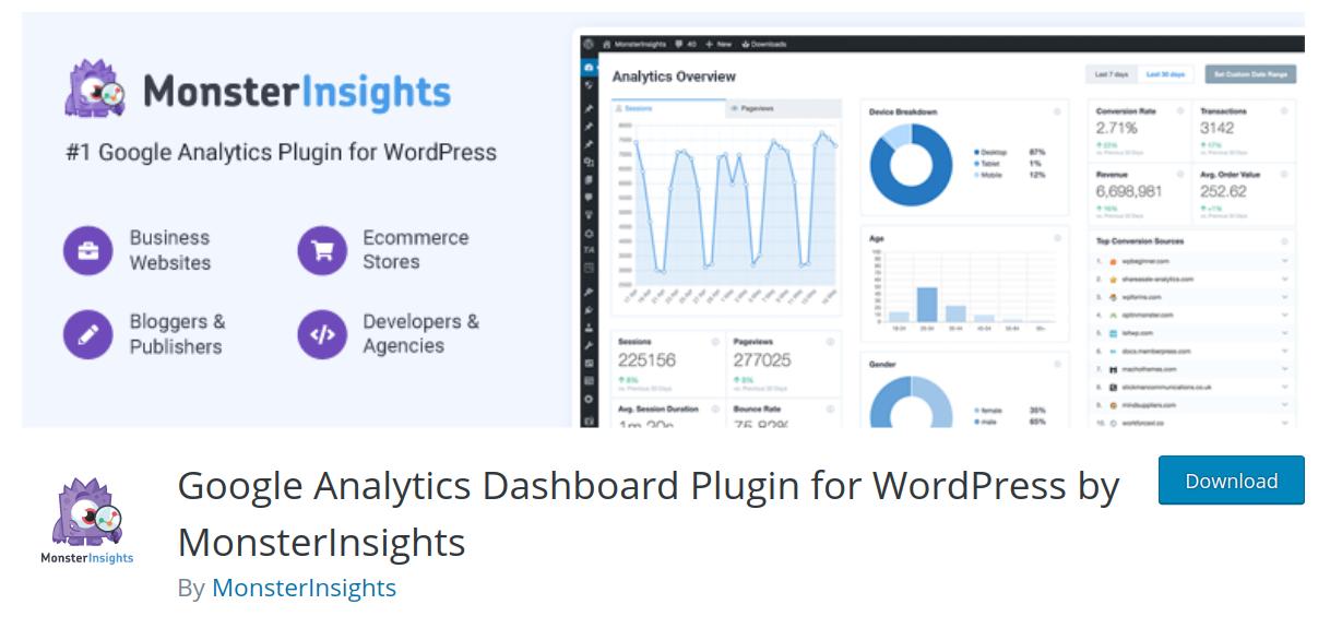monster insights wordpress google analytics plugin header