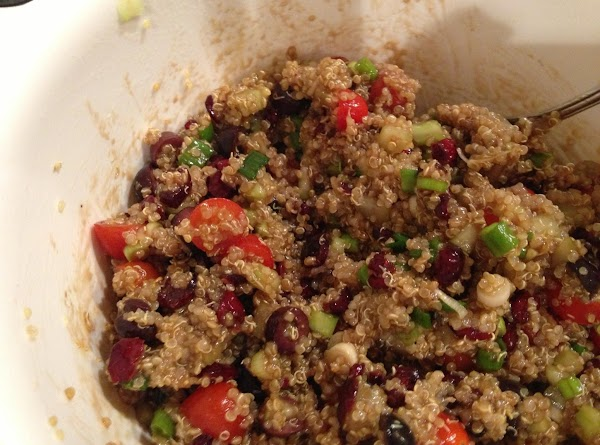 Combine all ingredients and stir in vinegar mixture until completely coating all the quinoa....