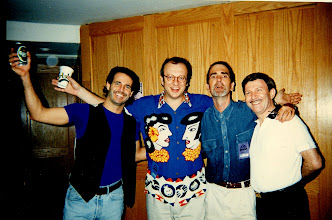 Photo: With Robert Gallup, Steve Beaver & Avry Ben Zeev. Which one is wearing the wig? HINT: It's not me!