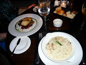 Photo: Fuegan king crab and mussel risotto, black sea bass
